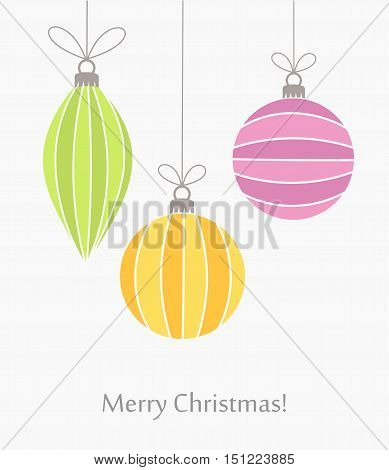 Christmas colorful baubles ornaments card. Vector illustration