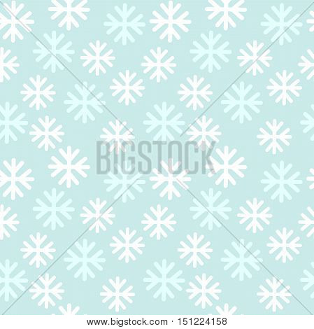 Snowflakes seamless pattern blue background. Vector illustration