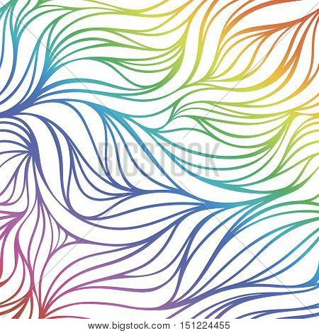Seamless waves of rainbow. Vector abstract background.