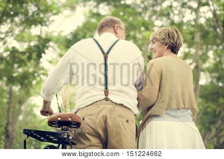 Elderly Couple Romantic Leisure Park Concept