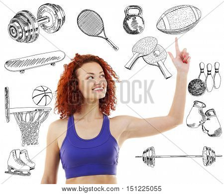 Sporty young woman on white background. Sport lifestyle concept. Diversity of sport icons on background.