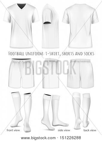 Football uniform: t-shirt, shorts and socks. Fully editable handmade mesh. Vector illustration.