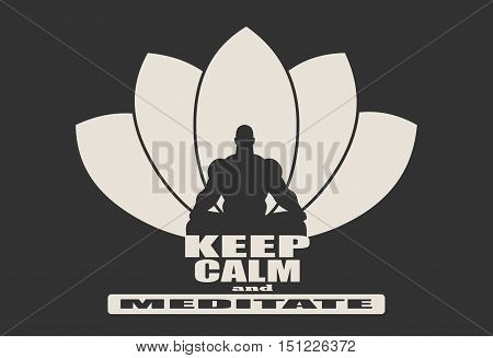 Muscular man sit vector photo free trial bigstock muscular man sit in meditation pose bodybuilder relaxing cutout silhouette lotus flower yoga mightylinksfo