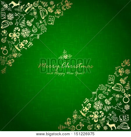 Golden Christmas elements in corner on green background, holiday decorations with Christmas tree, balls, bells, angel, Santa hat, sock, gift box, holly berries, candy cane, snowflakes, snowman, deer and inscriptions Merry Christmas and Happy New Year, ill