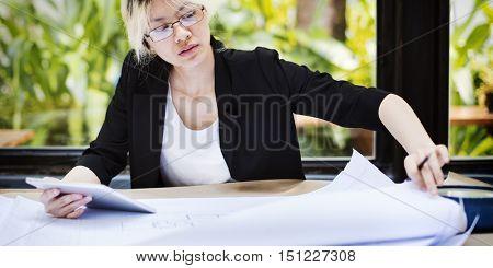 Asian Businesswoman Digital Tablet Architect Blueprint Concept