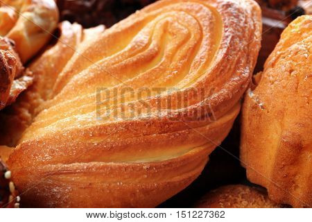 Assortment of fresh pastries, closeup