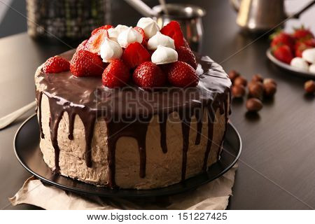 Delicious cake with zephyr and strawberry, closeup