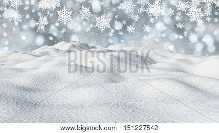 3D render of a snowy landscape with snowflakes
