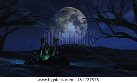 3D render of a spooky Halloween background with zombie erupting out of the ground