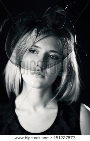 black and white retro portrait .Beautiful Woman.