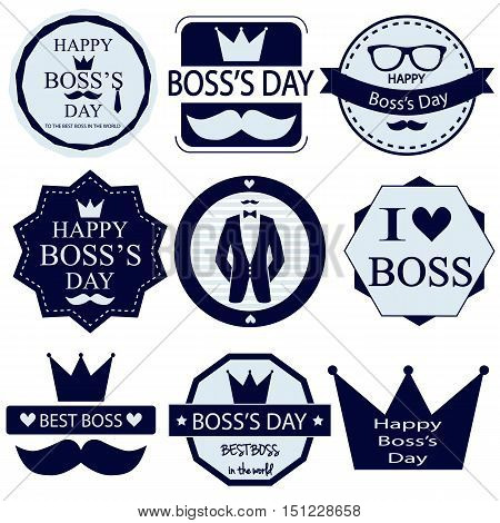 Boss day cards set. Best boss. vector illustration.