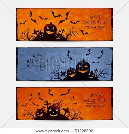 Set of Halloween banners with bats and pumpkins on cemetery grunge background, inscriptions Happy Halloween and trick or treat, illustration.