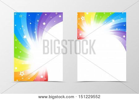 Flyer template design. Abstract flyer template vector illustration in rainbow color. Colorful flyer design