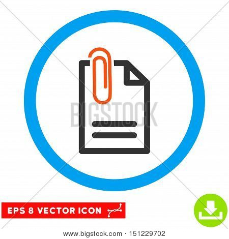 Rounded Attach Document EPS vector pictogram. Illustration style is flat icon symbol inside a blue circle.