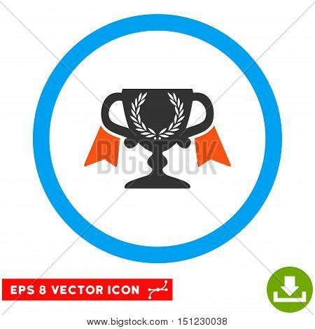 Rounded Award Cup EPS vector pictograph. Illustration style is flat icon symbol inside a blue circle.