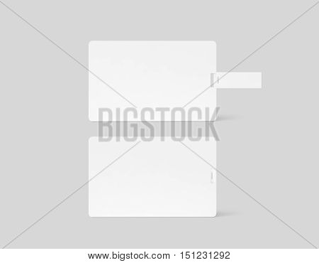 Blank white plastic wafer usb card mockup back side view clipping path 3d rendering. Visiting flash drive namecard mock up. Call card disk souvenir presentation. Flat credit stick adapter design
