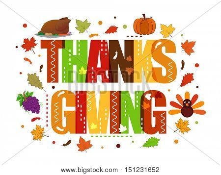 Colorful text Thanks Giving on maple leaves decorated background, Can be used as Poster, Banner or Flyer design.