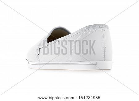 Blank white slip-on shoe design mockup isolated clipping path 3d rendering. Plain hipster slipon mock up template stand back side view. Urban skate shoes with clear label presentation.