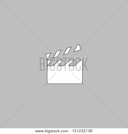 clap board Simple line vector button. Thin line illustration icon. White outline symbol on grey background
