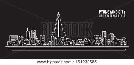 Cityscape Building Line art Vector Illustration design - PyongYang city