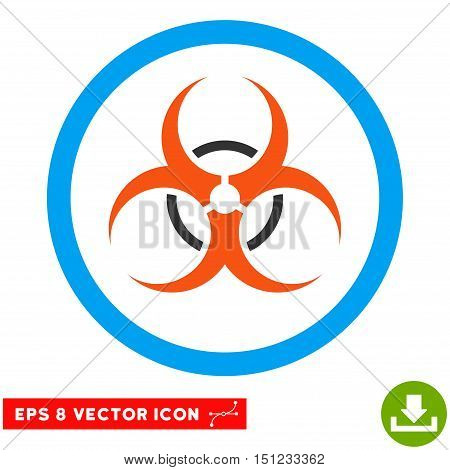 Rounded Bio Hazard EPS vector pictograph. Illustration style is flat icon symbol inside a blue circle.