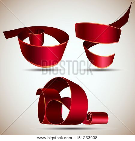 Red realistic ribbon set isolated on white background vector illustration