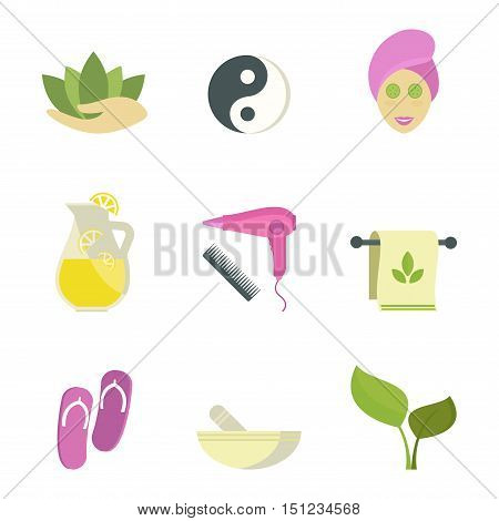 Spa beauty and body care vector icons and spa woman mask. Spa woman on white background. Spa silhouette sign. Body and skin care modern style illustration
