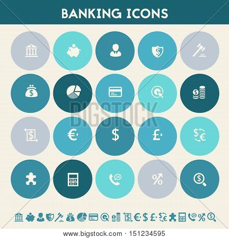 Modern flat design multicolored banking icons collection