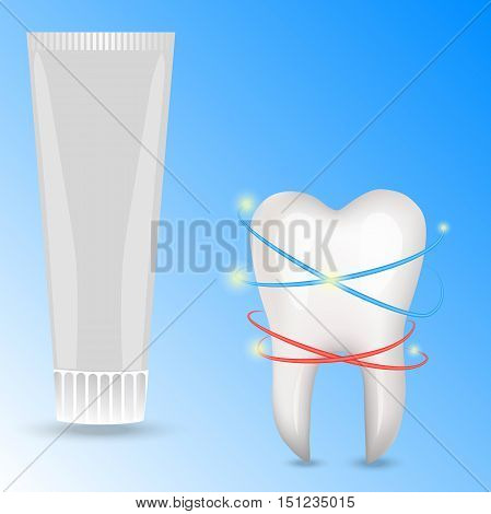 Very high quality original trendy realistic vector human tooth and toothpaste illustration.
