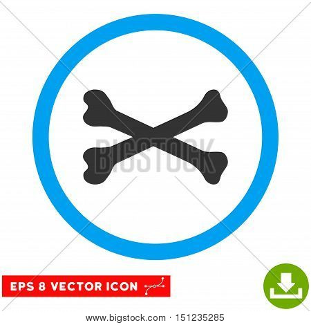 Rounded Bones Cross EPS vector pictograph. Illustration style is flat icon symbol inside a blue circle.