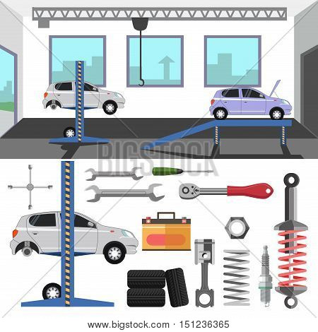 Tire service center of car. Vector set of repair tools and auto spares tire and wrench, battery and motor, piston and spark plug, spanner. Flat design elements and icons. Automobile maintenance