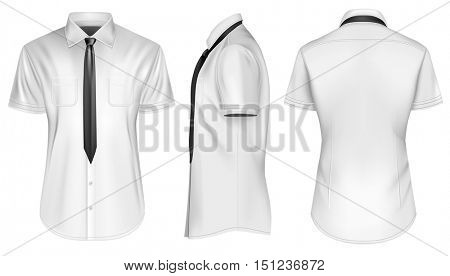 Men's short sleeved formal button down shirts with tie. Front, side and back views. Fully editable handmade mesh, Vector illustration.