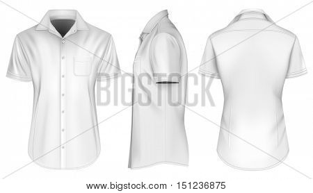 Men's short sleeved formal button down shirts, open collar. Front, side and back views. Fully editable handmade mesh, Vector illustration.