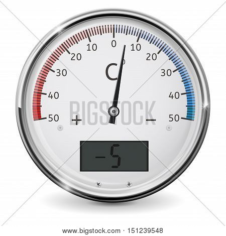 Thermometer. Cold temperature. Minus 5 degrees Celsius. Vector illustration isolated on white background