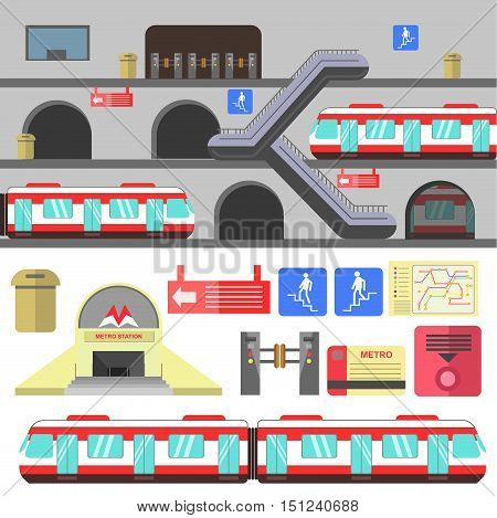 Metro rail station illustration. Vector subway flat icons. Set of underground symbols train, map, escalator, navigation signs, turnstile. Urban public transport. Isolated on white background.