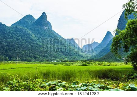 The karst mountains and rural scenery in Guilin