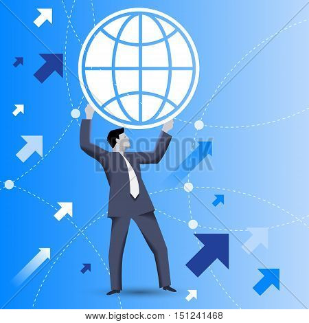 Powerful business concept. Confident businessman in business suit holds globe above his head as symbol of business power and global dominance. Strategy growth business power and opportunities concept