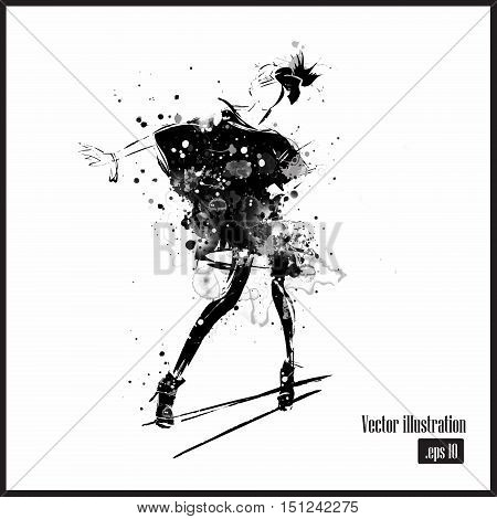 Fashion girl in sketch-style. Grunge fashion. Vector illustration.