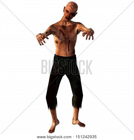 old, bald, weak zombies. In blood and cuts. He stands and both hands directed forward. 3D rendering, 3D illustration