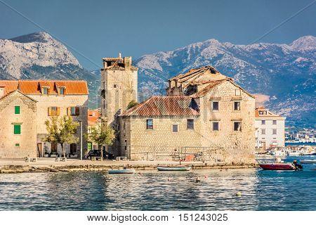 Waterfront view at town Kastel Stafilic, small touristic place in suburb of town Split, Croatia Europe. / Kastel Stafilic coastal view. / Selective focus.