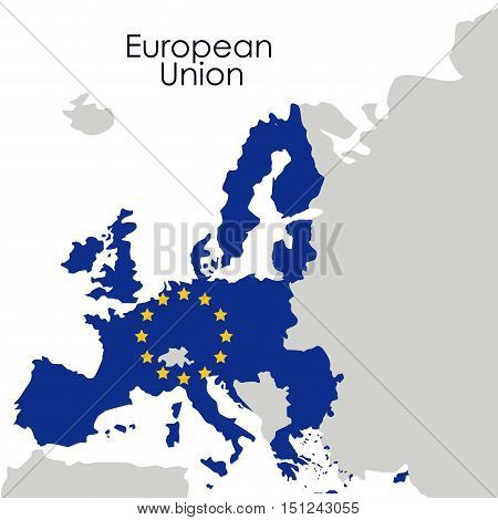 European union map icon. Europe nation and government theme. Colorful design. Vector illustration