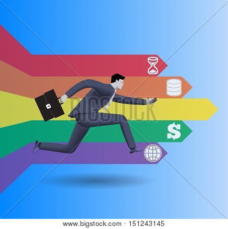 Searching treasure at the end of the rainbow concept. Confident businessman in business suit with case in one hand and smart phone in other runs trying to find treasure at the end of the rainbow.