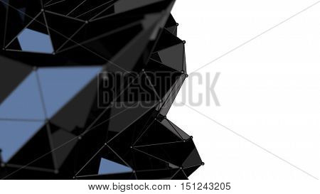 3d black abstract geometric body. Abstract science and technology background with depth of field settings. 3D rendering.