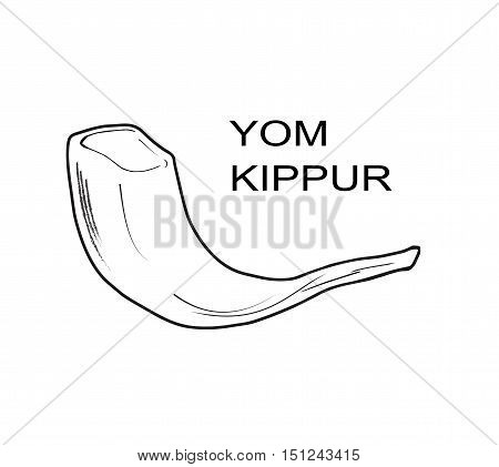 Yom Kippur Jewish Holiday card with shofar- horn. Vector illustration. For Print. Yom Kippurim poster. Rosh Hashana, Yom Kippur, Sukkot, Simhat Tora.