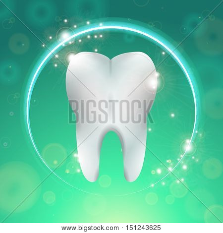 Clean Tooth Logo Surgery Dentistry Vector Illustration. Medical Conception for Tooth Clinic. Healthy Tooth Clean Enamel in Circle on Green Blur Pattern. Tooth Whitening Logo for Stomatology Clinic