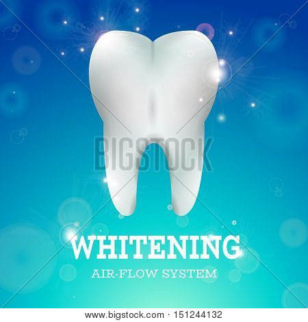 Tooth Whitening Logo Air Flow System Dentistry Vector Illustration. Medical Conception for Tooth Clinic. Healthy Tooth w Clean Enamel on Blur Blur Pattern. Clean Tooth Logo for Stomatology Clinic