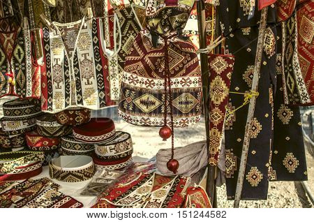 Sunday fair clearance sale of souvenirs hats,handbags,vests.
