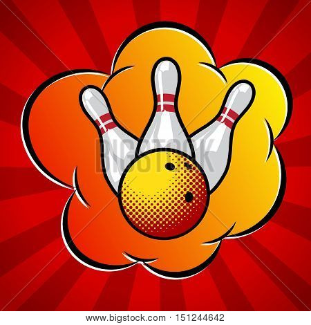 Vector pop art bowling illustration. Bowling ball and three pins.