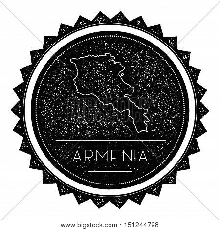 Armenia Map Label With Retro Vintage Styled Design. Hipster Grungy Armenia Map Insignia Vector Illus