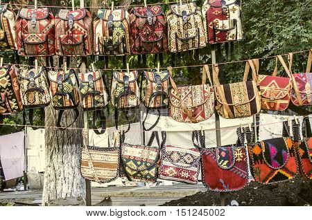 Sunday fair clearance sale of souvenirs backpacks,bags.